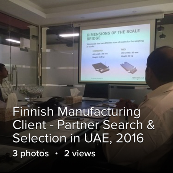 Finnish Manufacturing Client - Partner Search & Selection in UAE, 2016 3 photos